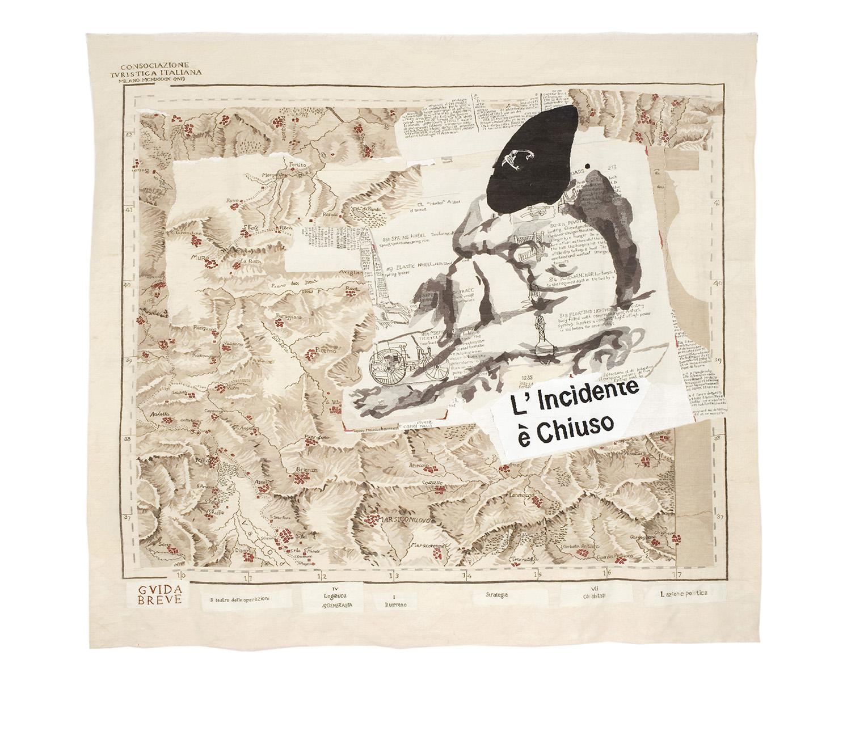 L'incidente de Chiuso (Painted Map) Size: 3.83m x 4.30m   Edition of 6 (plus 2 APs and Studio Copy)