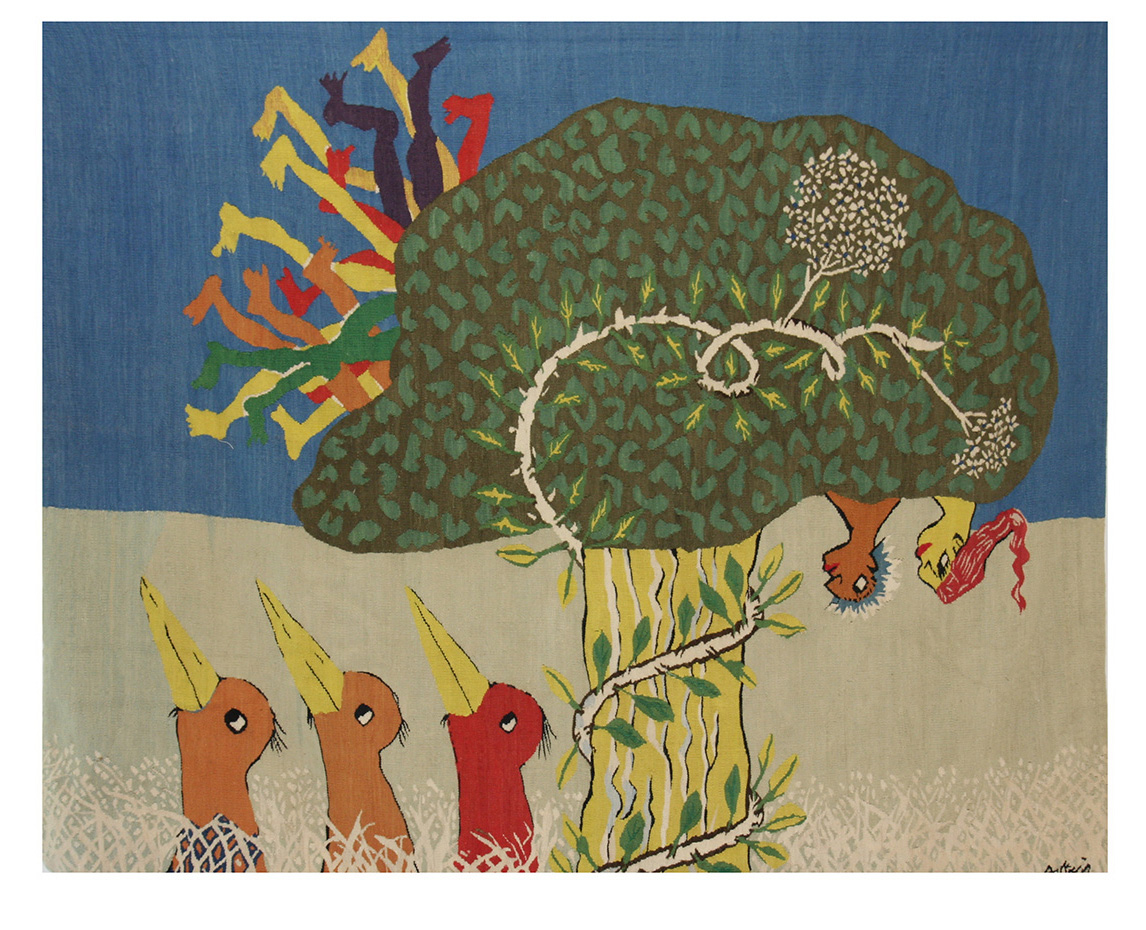 10 People in the Mpipi Tree Size:  1.95m x 2.40m First Woven: 1981 Edition of 5
