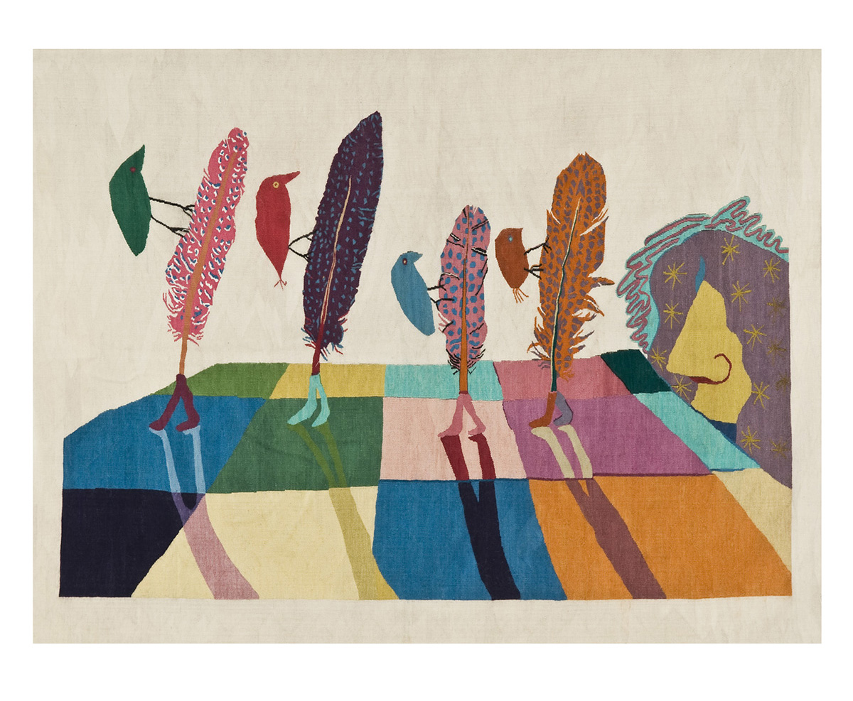 Walking Feathers  Size:  1.8m x 2.4m First Woven: 2014 Edition of 3